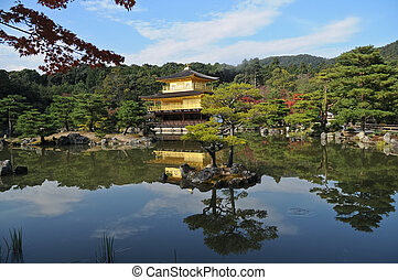 Pond reflection and Japanese golden pavillion Kinkakuji in...