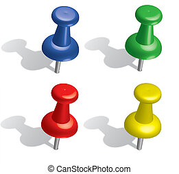 Push pins - 3D color push pins set. Illustration
