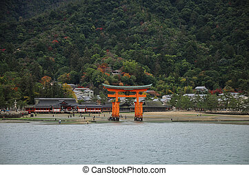 Miyajima red sacred gate in Hiroshima Japan