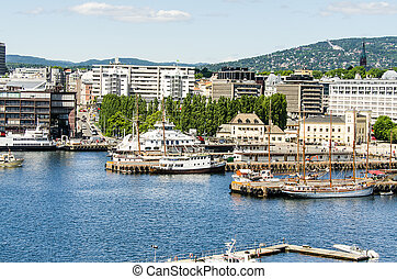 Oslo harbor - View on Oslo and the harbor