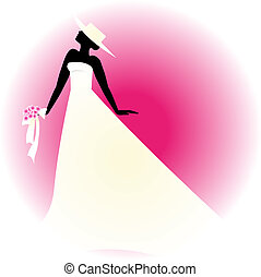 Bride silhouette - Bride with hat on pink background