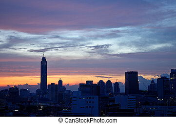 Bangkok City Thailand Sky Scrapper at dawn