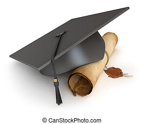 Graduation cap and diploma. Conceptual illustration....