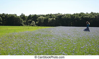 girl cornflower field