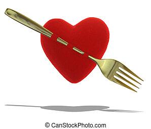 garfo, Coração, Camafeu, Ouro, isolado, vermelho