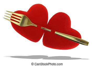 dois, vermelho, corações, pined, Ouro, garfo,...