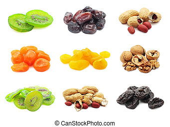 Dried fruits - Collection of dried fruits isolated on white...