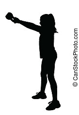 Girl Fitness Exerciser Silhouette - Girl with Ponytail Hair...