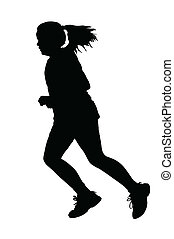 Girl Running Silhouette - Girl with Ponytail Hair Swinging...