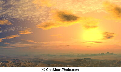 Yellow sunset - sunset, sun, clouds, sky, mountains, hills,...