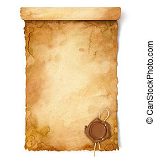 Old paper scroll with wax seal. Conceptual illustration....