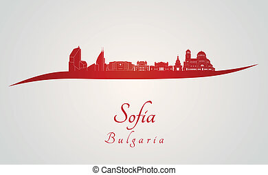 Sofia skyline in red and gray background in editable vector...