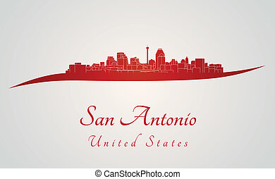 San Antonio skyline in red and gray background in editable...