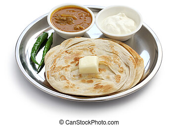 plain paratha with curry and yogurt, indian food