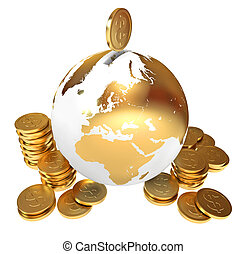 Moneybox. Global economy. Conceptual illustration. Isolated...