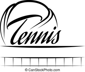 Tennis Ball Banner - Stylized tennis ball with the word...