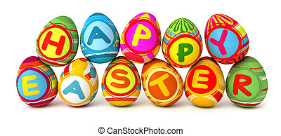 Happy Easter. Conceptual illustration. Isolated on white...