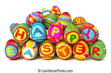Happy Easter. Pile of eggs. Conceptual illustration....