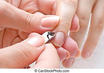manicure, cuticle cut - nail salon, manicure applying -...