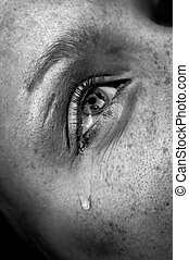 crying eye - crying womans eye, black and white image, low...