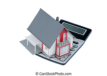 residential house on calculator - residential building on a...