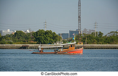 Tugboat cargo ship pulling