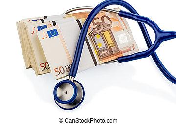 stethoscope and euro banknotes, symbolic photo for monetary...