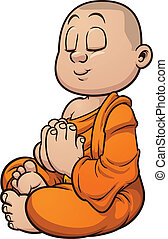 Buddhist monk - Cartoon buddhist monk meditating. Vector...