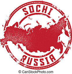 Sochi Russia Travel Stamp - Vintage style stamp featuring...