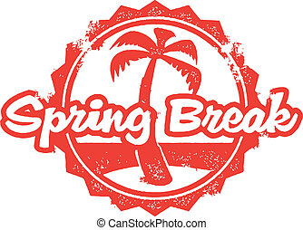 Spring Break Vacation Travel - Vintage style stamp with...