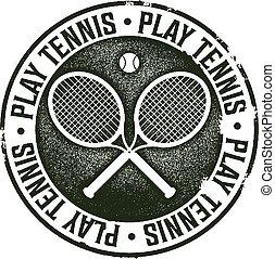 Play Tennis Vintage Sport Stamp - Vintage style tennis sport...