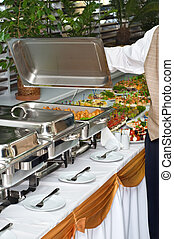chafing dish heater with food - chafing dish heater filled...