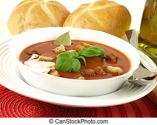 Tomato soup for a starter - Tomato soup with croutons in a...