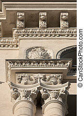 neoclassicism in architecture - details of carved facade...