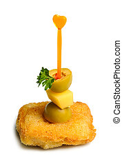 cheese canape - macro shot of canape with cheese, fried...