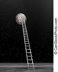 Ladder to the moon - 3D render