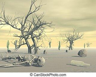 Skeleton in the desert - 3D render - Skeleton lying in the...