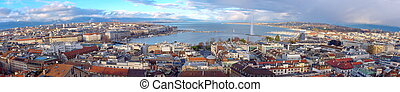 Geneva city panorama, Switzerland (HDR) - Panorama of Geneva...