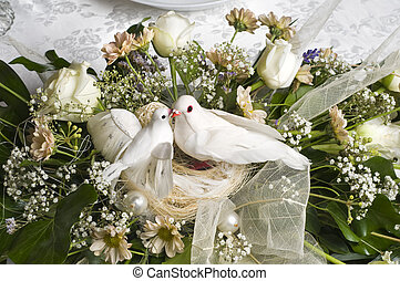 wedding decoration bouquet with two white doves