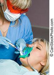 odontología, diente, cavidad, Parar