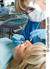 dentistry, tooth cavity stopping - dentistry, doctor and...