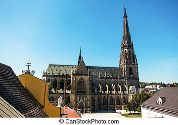 linz, austria, new cathedral - the new cathedral in linz,...