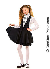 school uniform - Portrait of a ten years schoolgirl wearing...