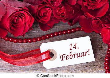Rosy Background with 14. Februar - A Rosy Background with a...