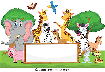 funny animal cartoon with blank sig - Vector illustration of...