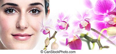 Young beautiful woman face. - Young beautiful woman face...