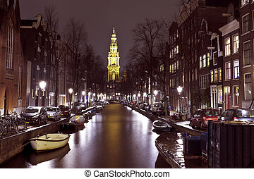 City scenic from Amsterdam in the Netherlands with the...