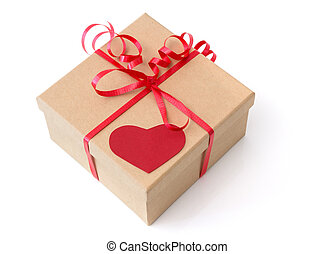 Valentine gift box with red heart