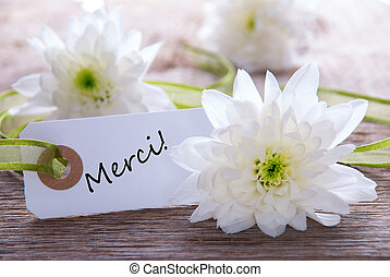 Background with Merci - A Blossom Background with the French...