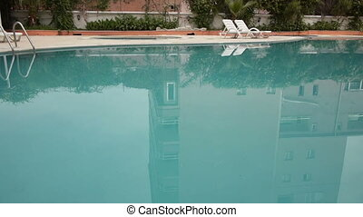 Water zone of hotel territory with pool close-up - Still...